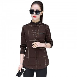 Brown Striped Plaid Long Sleeve Bottoming Tide Shirt WC-196BR