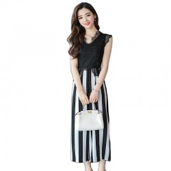Summer Sleeveless High Waist Chiffon Striped Jumpsuit WC-197