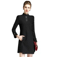 Women Fashionable Knitted Long Sleeve European Style Black Dress WC-198BK
