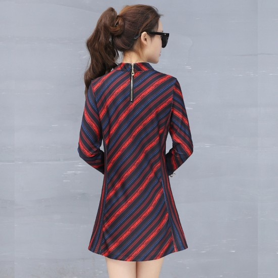Women Fashionable Knitted Long Sleeve European Style Red Dress WC-198RD image