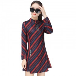 Women Fashionable Knitted Long Sleeve European Style Red Dress WC-198RD