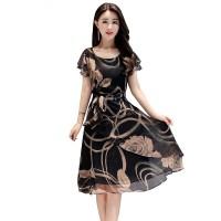 Summer New Women Fashion Short sleeve Floral Printing Dress WC-200