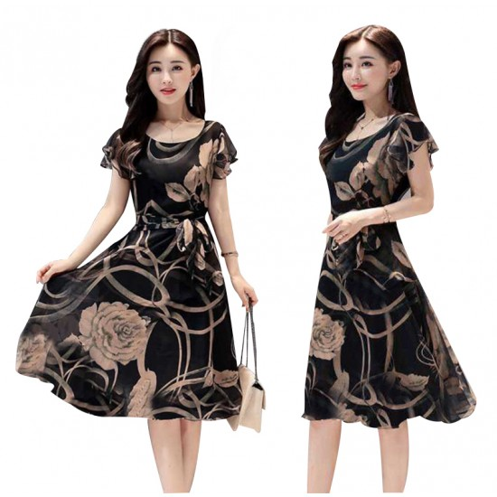 Summer New Women Fashion Short sleeve Floral Printing Dress WC-200