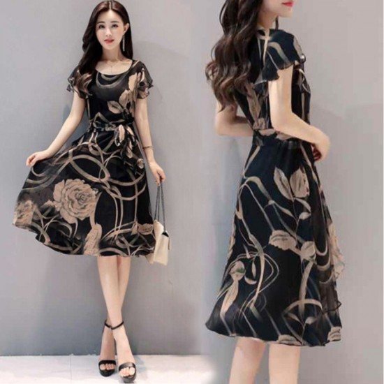 Summer New Women Fashion Short sleeve Floral Printing Dress WC-200 image