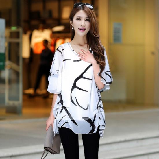 Summer Wave Long Printed Thin Chiffon Shirt WC-201W image