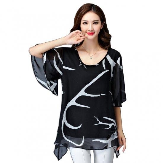 Summer Wave Long Printed Thin Chiffon Shirt WC-201BK image