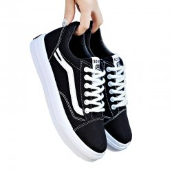 New Summer Stylish Black Canvas Shoes For Women S-124BK