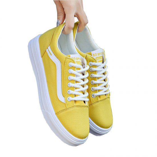 New Summer Stylish Yellow Canvas Shoes For Women S-124YL image