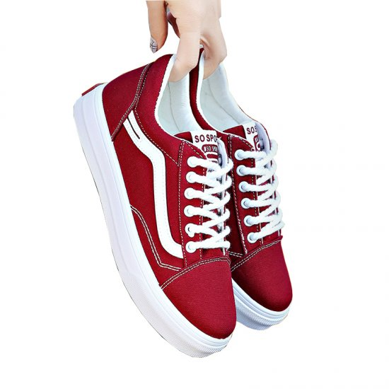 New Summer Stylish Red Canvas Shoes For Women S-124RD image
