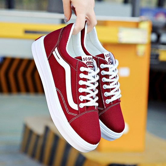 New Summer Stylish Red Canvas Shoes For Women S-124RD