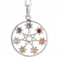 Chakra Stars Fair Trade 7 Stone Silver Chakra Necklace ANDN-60