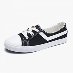 Women Flat Lace Up Canvas Shallow Mouth Casual Black Shoes S-125BK