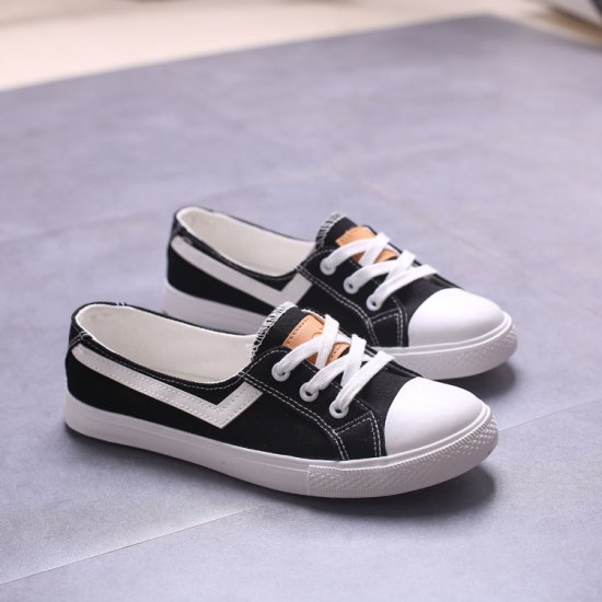 Women Flat Lace Up Canvas Shallow Mouth Casual Black Shoes S-125BK image