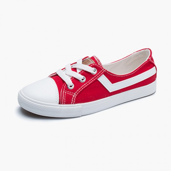 Buy Women Flat Lace Up Canvas Shallow Mouth Casual Red Shoes