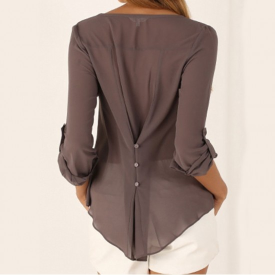 Women Fashion Long Sleeve V Neck Brown Loose Chiffon Shirt WC-01BR image