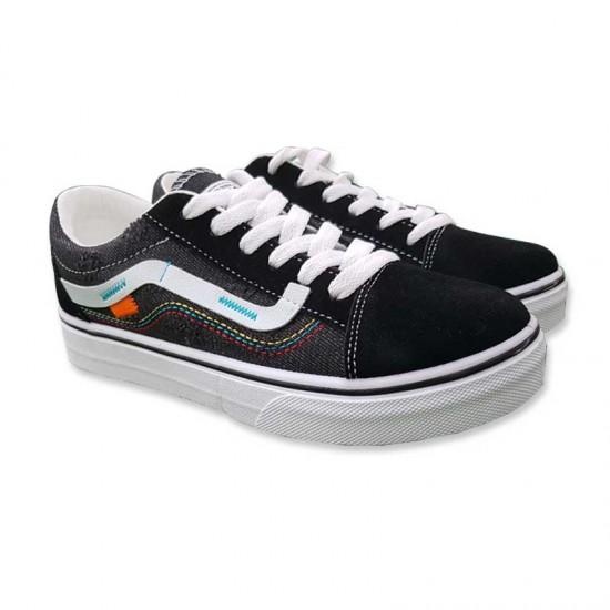 Summer and Autumn Women Black Canvas Flat Bottom Shoes S-127BK