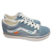 Summer and Autumn Women Blue Canvas Flat Bottom Shoes S-127BL