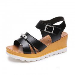 Wild Fashion Black Color Wedge Silver Thick Bottom Slope Casual Sandals S-123BK