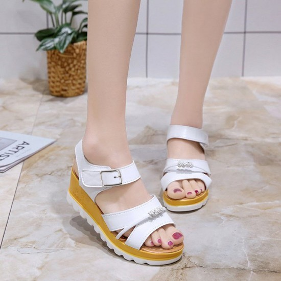Wild Fashion White Color Wedge Silver Thick Bottom Slope Casual Sandals S-123W image
