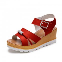 Wild Fashion Red Color Wedge Silver Thick Bottom Slope Casual Sandals S-123RD