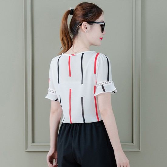 Summer Chiffon Shirt With Red & Black Stripe For Women WC-164RD image