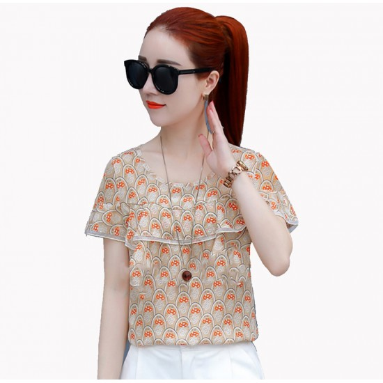 V-Neck Flounced Printed Chiffon Top For Women WC-176
