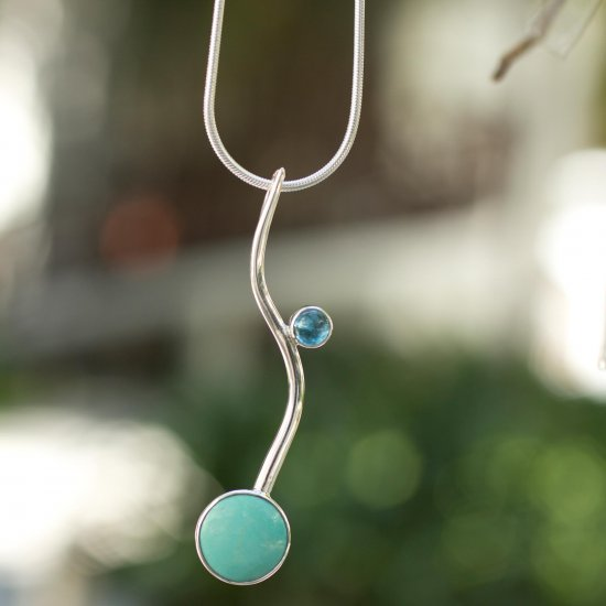 Taxco Eclipse Collectible Taxco Silver Natural Turquoise Necklace ANDN-68