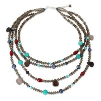 Be Whimsical Beaded Quartz Necklace from Thailand ANDN-67