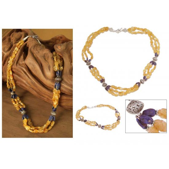 Sunny Sky Citrine and lapis beaded long necklace ANDN-70