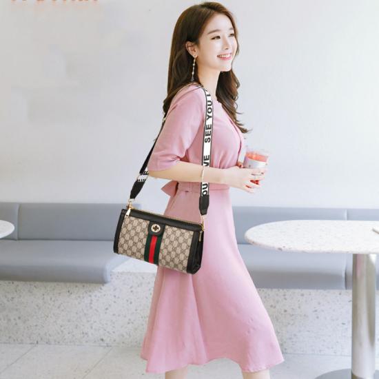 Designer Texture Black Contrast Messenger Bag WB-49BK image
