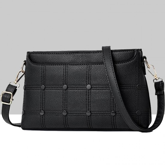 Rivets Decorated Small Square Black Shoulder Bag WB-54BK image