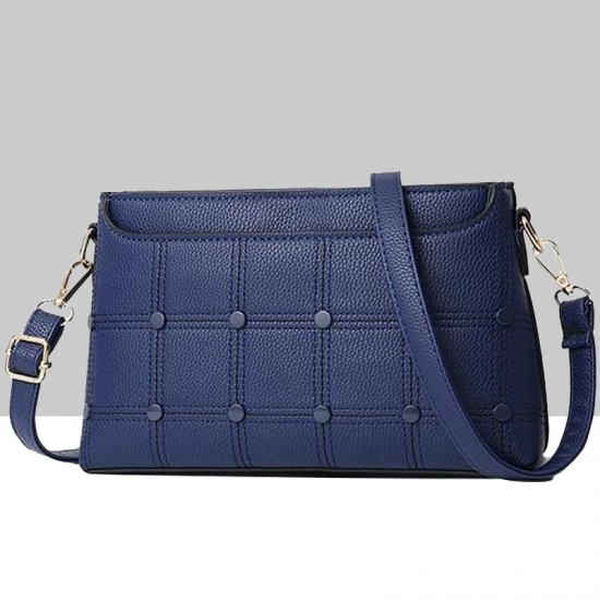 Rivets Decorated Small Square Blue Shoulder Bag WB-54BL image