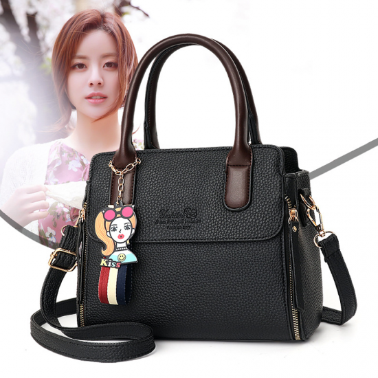 Women's Fashionable Shoulder Diagonal Black Color Handbag WB-50BK image