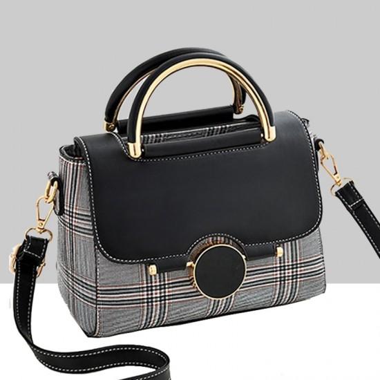 Designer Printed Shoulder Diagonal Black Contrast Handbag WB-51BK image