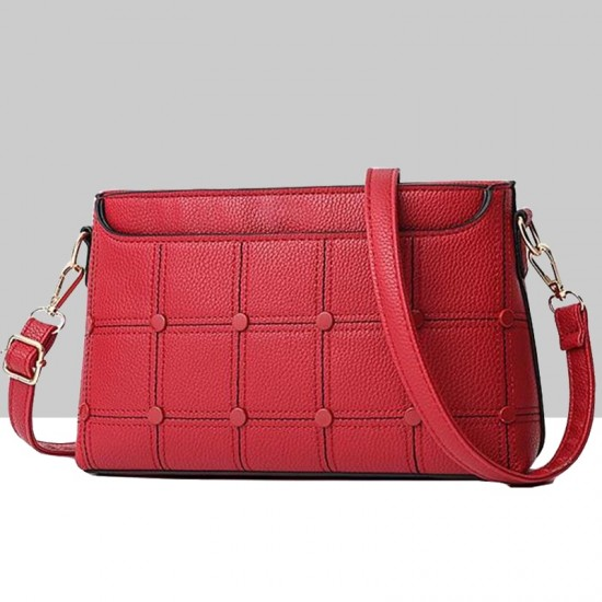 Rivets Decorated Small Square Red Shoulder Bag WB-54RD image