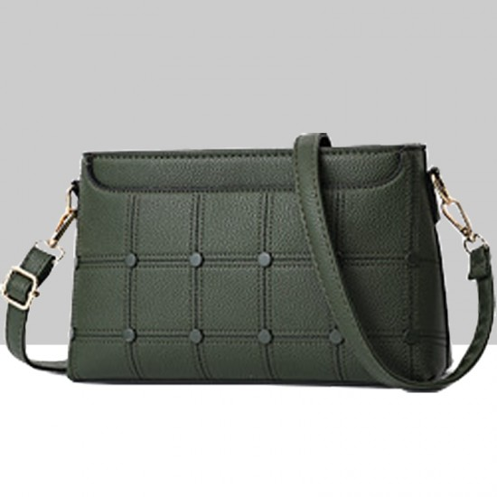 Rivets Decorated Small Square Green Shoulder Bag WB-54GN image