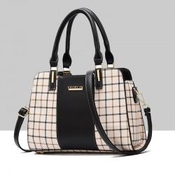 Black Contrast Plaided Stitching Handbag WB-53BK