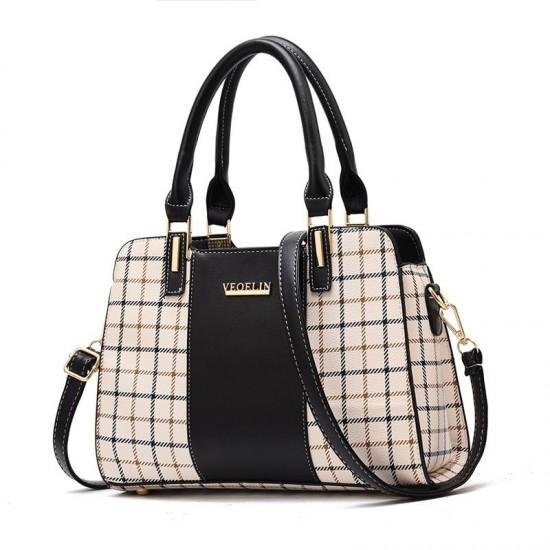 Black Contrast Plaided Stitching Handbag WB-53BK image