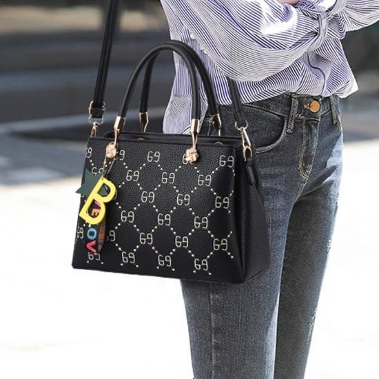 Designer Print European Style Black Shoulder Handbag WB-55BK image