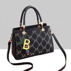 Designer Print European Style Black Shoulder Handbag WB-55BK