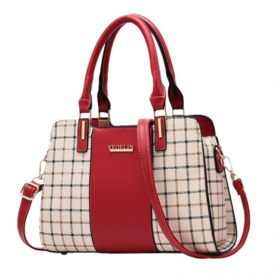 Red Contrast Plaided Stitching Handbag WB-53RD image