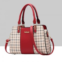 Red Contrast Plaided Stitching Handbag WB-53RD