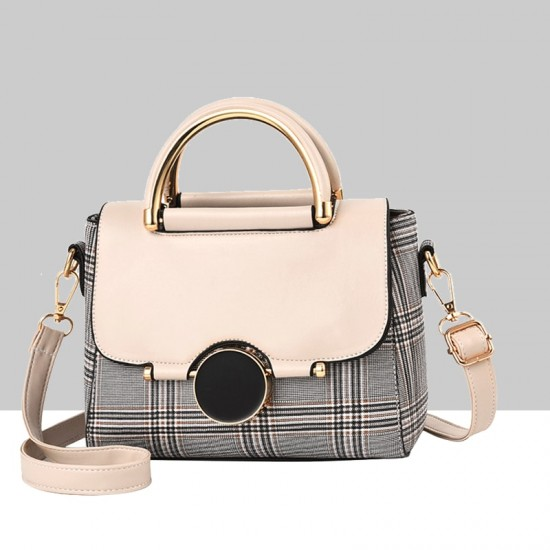 Designer Printed Shoulder Diagonal Cream Contrast Handbag WB-51CR image