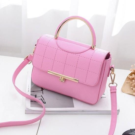 Square Textured Pink Flap Shoulder Mini bag WB-58PK image