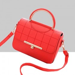 Square Textured Red Flap Shoulder Mini bag WB-58RD