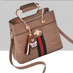Designer Contrast Brown Shoulder Bucket Bag WB-59BR