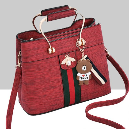Designer Contrast Red Shoulder Bucket Bag WB-59RD image
