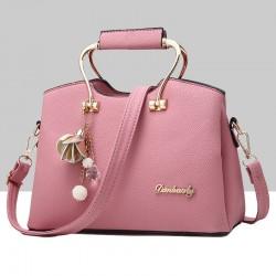 Retro Leather Plain Pink Shoulder Handbag WB-57PK