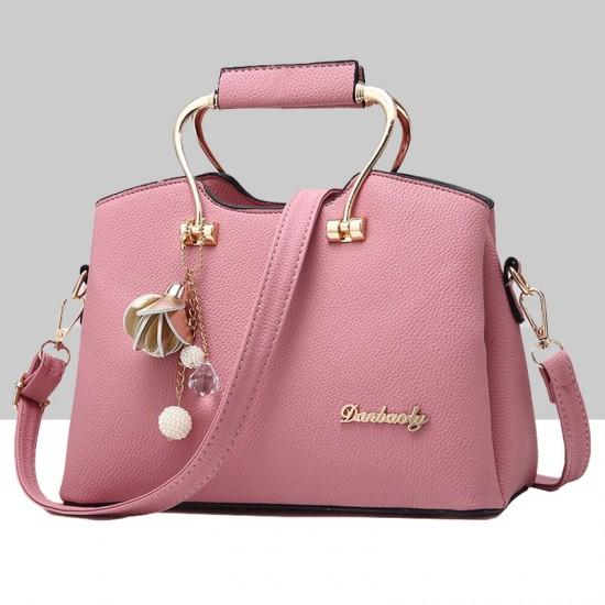 Retro Leather Plain Pink Shoulder Handbag WB-57PK image