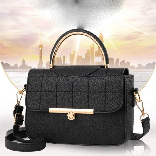 Square Textured Black Flap Shoulder Mini bag WB-58BK image